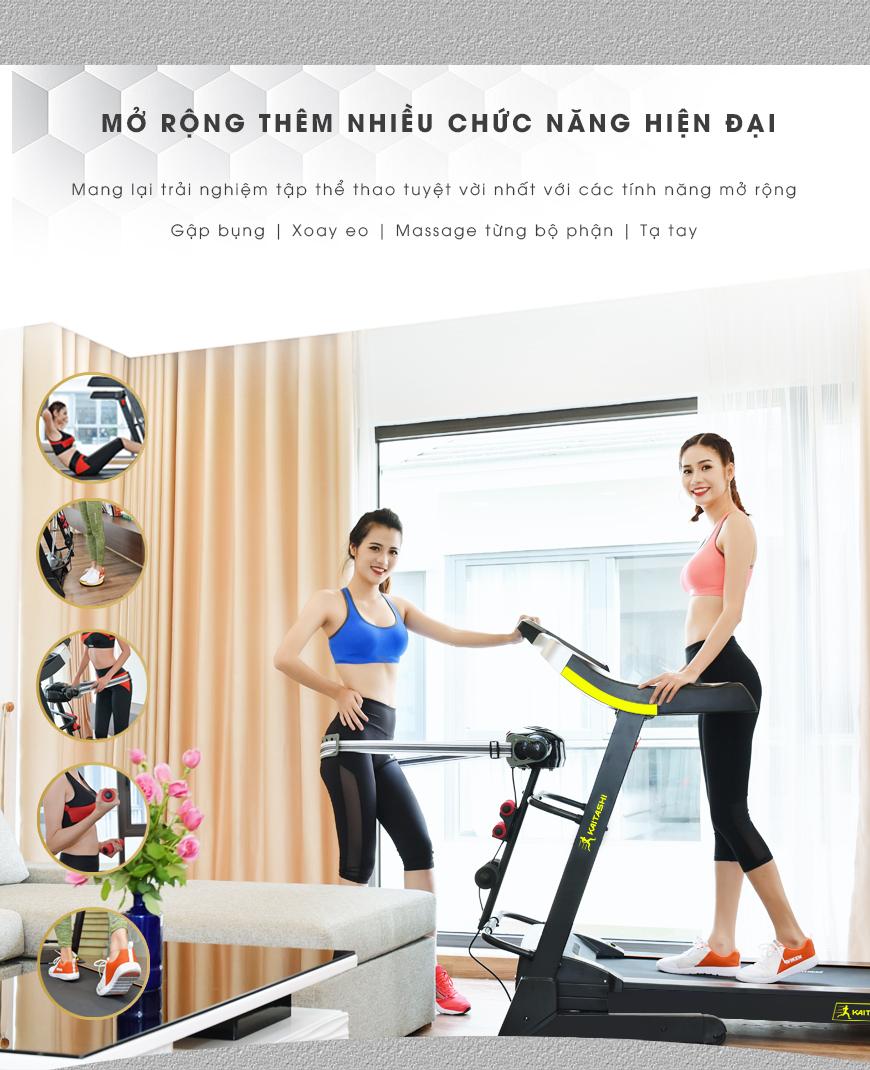 Máy chạy bộ điện đa tính năng tập luyện thể thao thoải mái tại nhà.