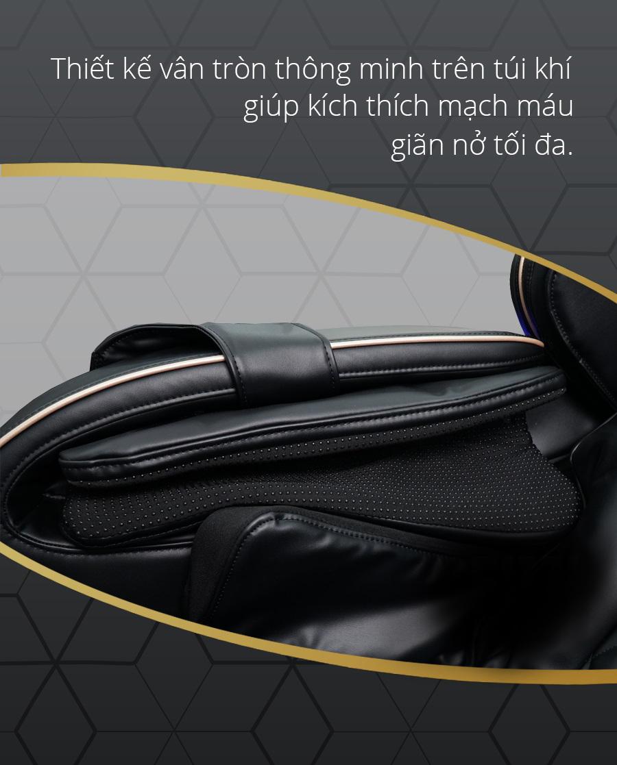 Các vân tròn trên túi khí giúp tăng hiệu quả massage.