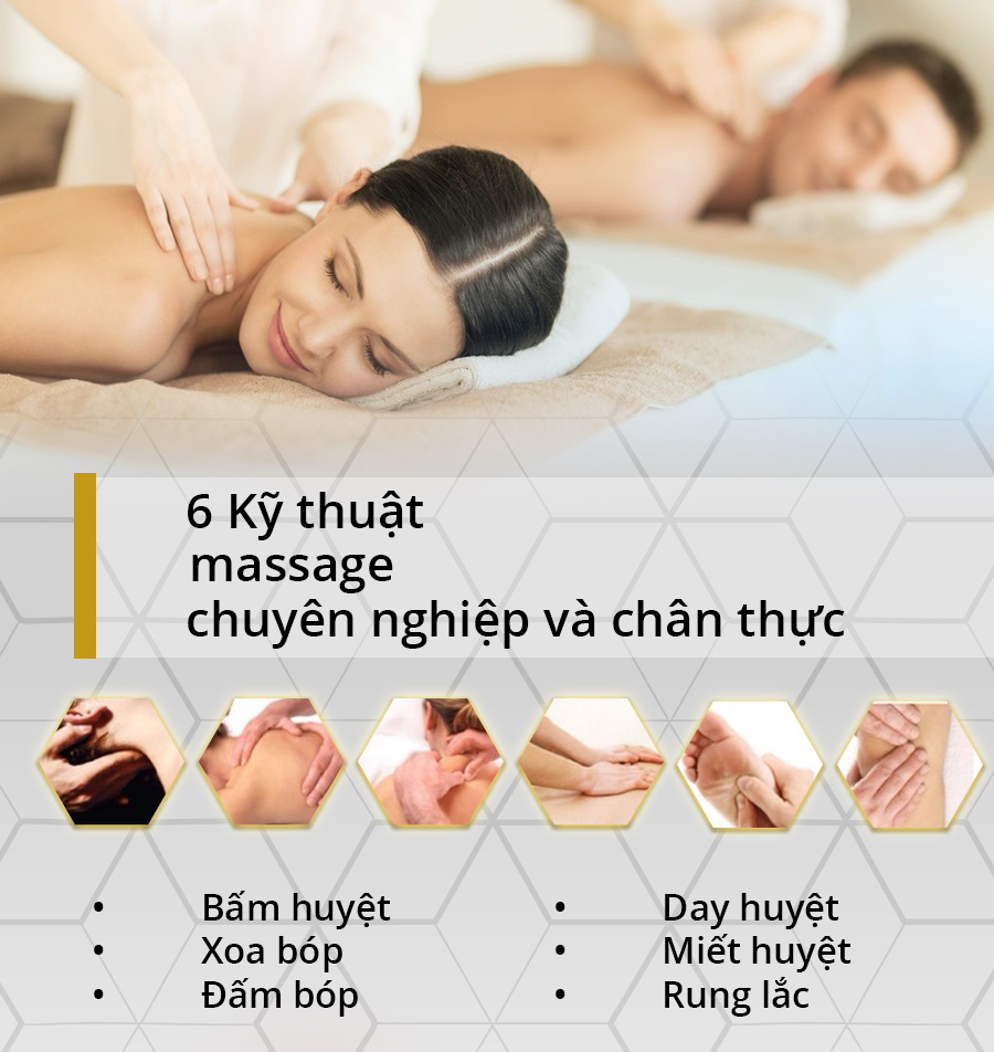 Các kỹ thuật massage chuyên nghiệp, lực ấn phù hợp.