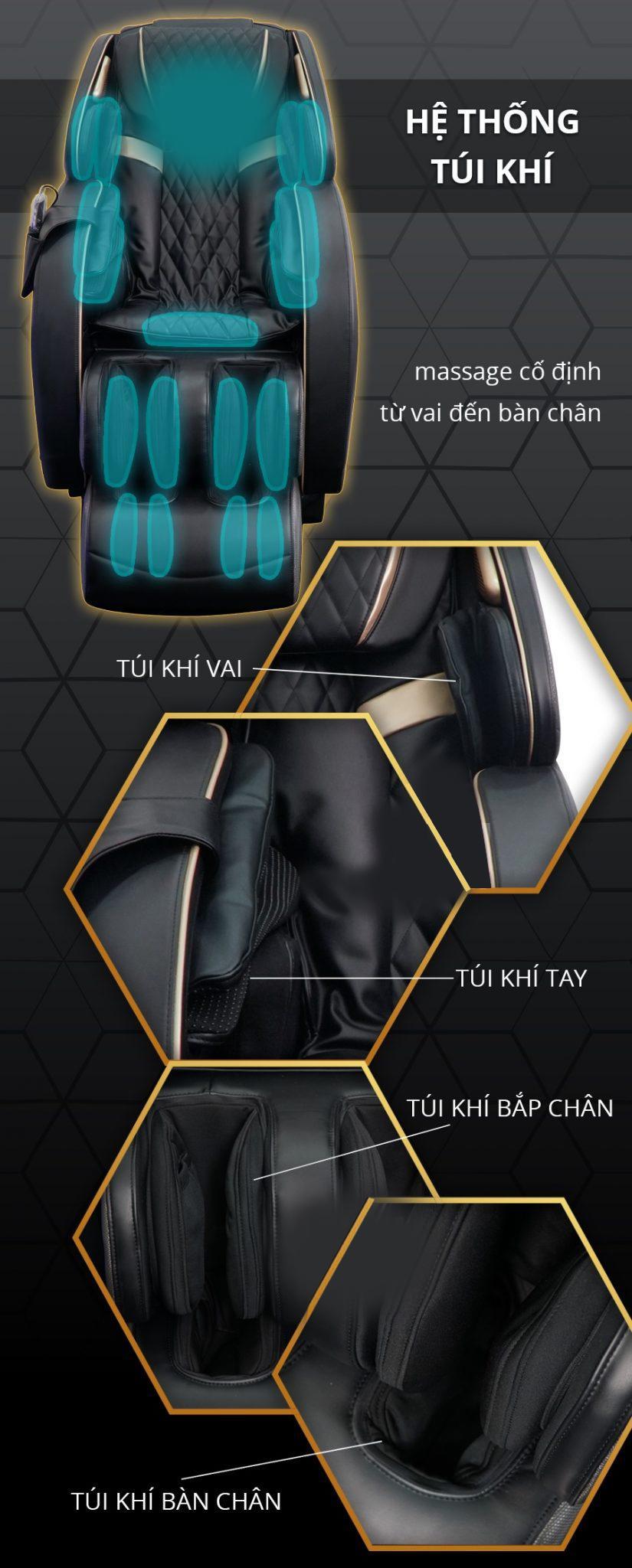 Túi khí bố trí hợp lý, điều chỉnh lực massage phù hợp mang đến sự êm ái, thoải mái.
