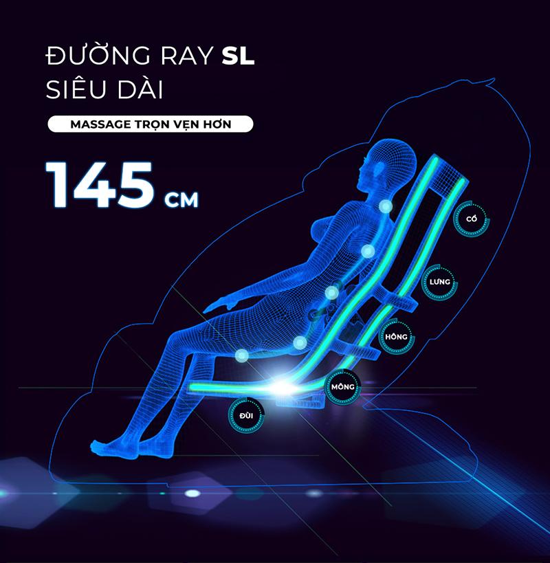 đường ray SL massage từ đầu đến bắp chân