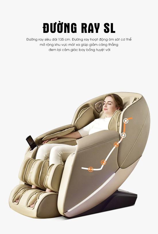 Massage hiệu quả với con lăn 3D chạy dọc theo đường ray SL - Track