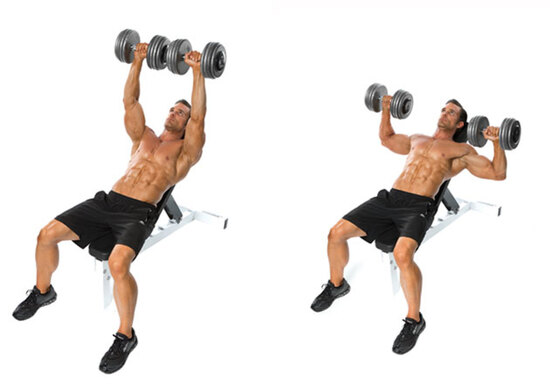 Incline dumbbell flyes: 4 hiệp - mỗi hiệp 15 lần, nghỉ 15 giây