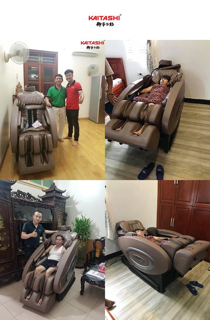 Khách hàng tin tưởng và sử dụng ghế massage KS-580 tại cửa hàng Long An